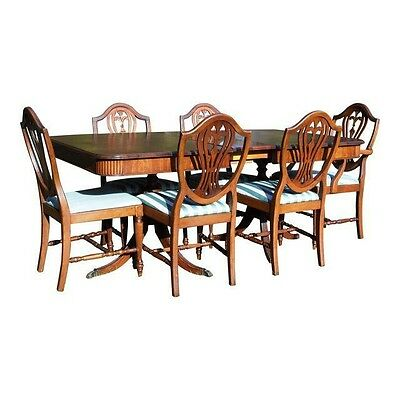 Vtg Hepplewhite Phyfe Mahogany Dining Set Table 6 Shield Back Chairs THOMASVILLE