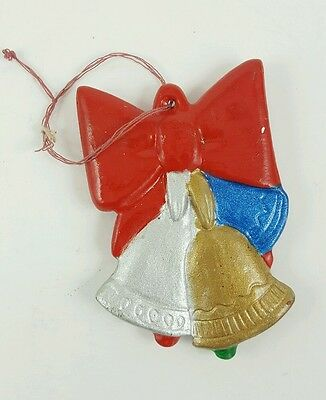 Vintage Hand Painted Christmas Tree Ornament Bells & Bow, Happy Holidays!
