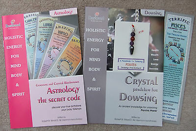 PISCES - Handmade birthstone dowsing pendulum plus  2 great books & a bookmark