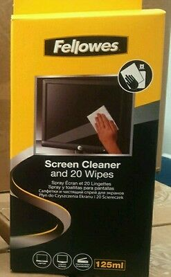Fellowes 125ml screen cleaning spray and 20 reusable wipes TV, PC, Tablet, more
