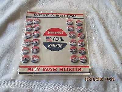 Wwii Homefront Remember Pearl Harbor Red/blue/white Flag (24) Button Display
