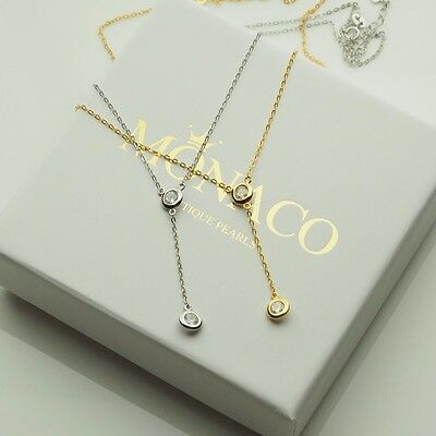 REAL 925 Sterling Silver Necklace Round Zirconia Pendant Lariat Jewelry Gift UK
