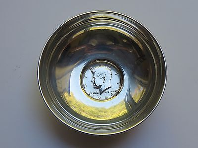 Vintage STERLING SILVER BOWL WITH 1964 KENNEDY HALF DOLLAR