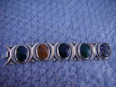 VINTAGE TAXCO MEXICO Multi Stone WIDE Link Bracelet 925 Sterling Beautiful