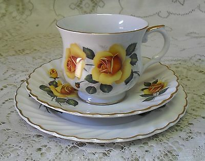 Old Foley James Kent Yellow Rose Trio Cup Saucer Plate Made In England #8117