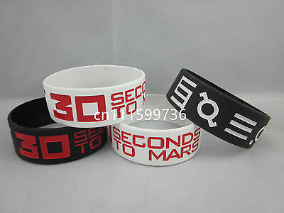 "30 Seconds To Mars Silicone Debossed 1"" Wide Wristband Bracelet"
