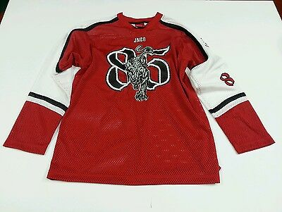"""JNCO Jeans Red White Panther """"85"""" Graphic Men's XL Hockey Jersey"""