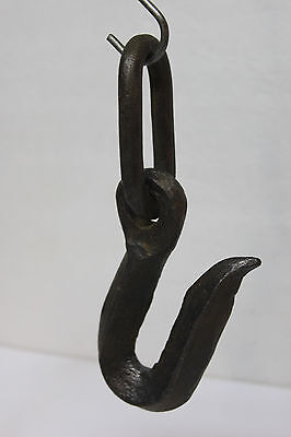 Antique Vintage Large Heavy Single Hook w/ Chain Link - Cast Iron -Steel -7 3/4""
