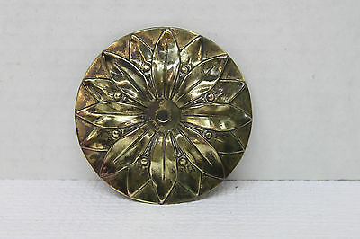 Antique Vintage Victorian Decorative Brass Plate - Flower