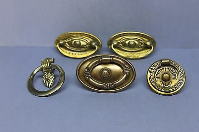 Lot of 5 Assorted Vintage Victorian Brass Plated/ Nickel Pulls Handles Knobs