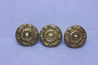Lot of 3 Vintage Victorian Brass Plated Pulls Handles Knobs with Screws