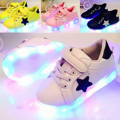 Kids Baby Boys Girls Sports Trainers LED Light Up Luminous Shoes
