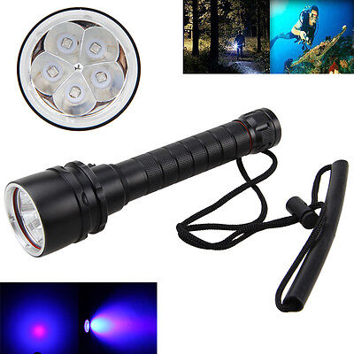 Rechargeable 390nm 30W 5x UV LED Diving Scuba Flashlight 2x 18650+Charger Torch