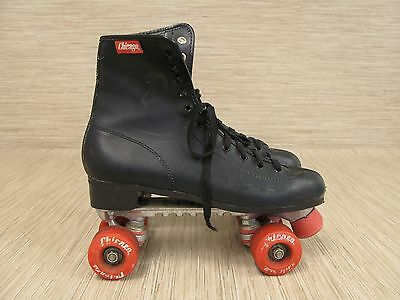 Chicago Black Leather Roller Skates Red Red Wheels Lace Up Men's Size US 10.5