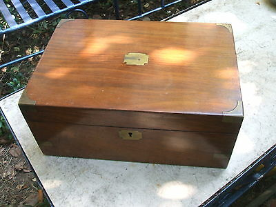 Victorian Walnut Writing Slope with Brass Corners and Key Film Prop
