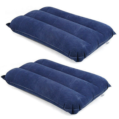 2 Inflatable Travel Pillows Camping Flocked Air Neck Rest Support Cushions