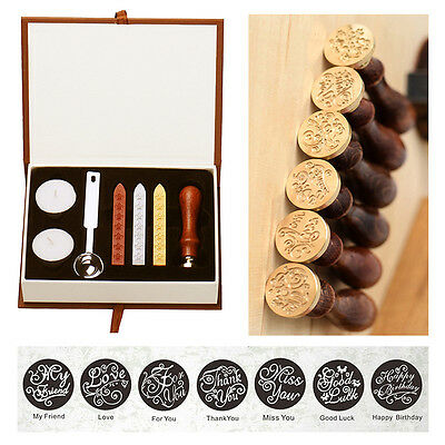 Classic letter Miss You Letter Badge Wax Seal Stamp w/Wax Set Stamp 7 Pattern