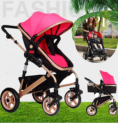 Newborn Child Baby Foldable Pram Stroller Jogger &  Bassinet Buggy Pushchair