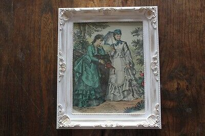 Vintage French Fashion Costume Engraving Print Picture  White & Gilt Frame