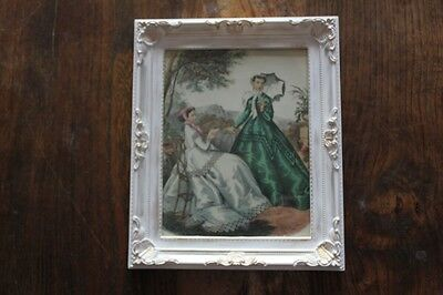 Vintage French Fashion Costume Print Picture Engraving  White & Gilt Frame