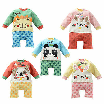 Cute Jumpsuit Baby Infant Kids Soft Sleepwear Babysuit Sleeve Outfit 80-95cm
