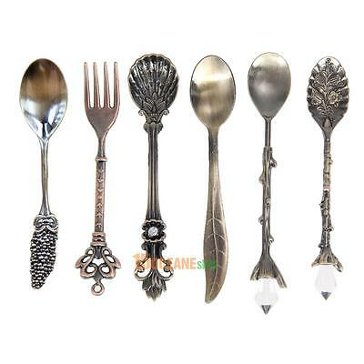 Vintage Royal Style Metal Carved Mini Coffee Spoons and Fork for Kitchen Bar