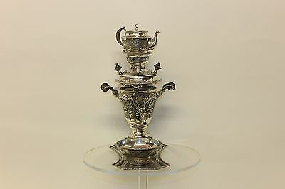 Antique Original Full Silver Persian Amazing Dizayn Samovar