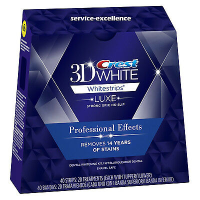 20 Pouches , 40 Strips Crest 3D Whitestrips LUXE Professional Effects Whitening