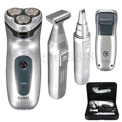 4in1 Mens Electric Rotary Shaver Rechargeable Beard Hair Nose Trimmer Razor Kit