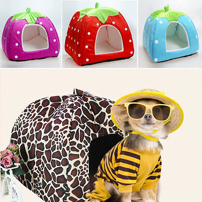 Cute Strawberry Pet Dog Kennel Cate House Bed Sofa Size M 4Colors TOP