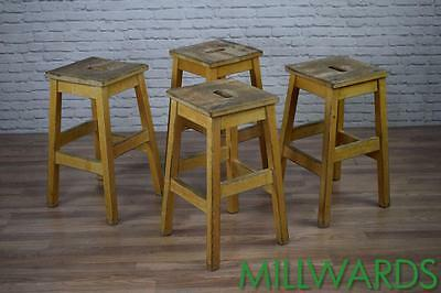 Vintage Industrial Wooden School Lab Cafe Bar Stools 20 AVAILABLE (inc VAT)