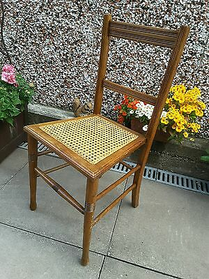 Antique Edwardian mahogany wicker bedroom / hall chair Mark Rowe maker