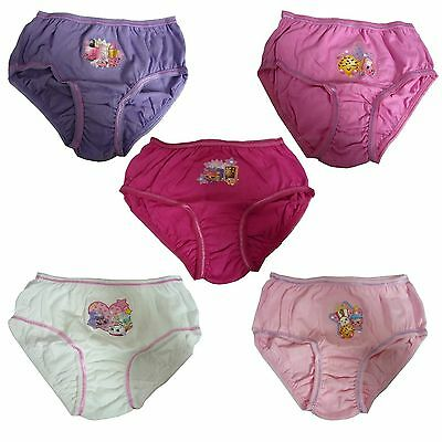 Girls Shopkins Pak 5 Briefs Pants Knickers Underwear Ages 3-4 5-6 7-8  9-10 New