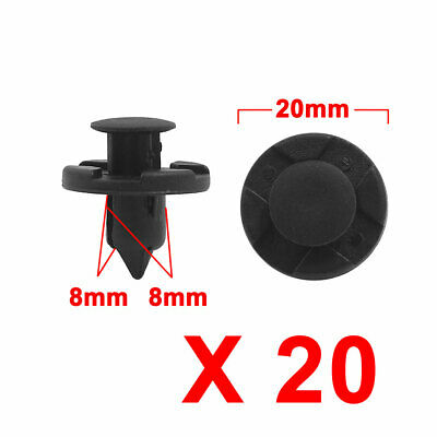 20 Pcs Black 8mm Hole Plastic Rivets Fastener Push Pin Clips for Fender Bumper