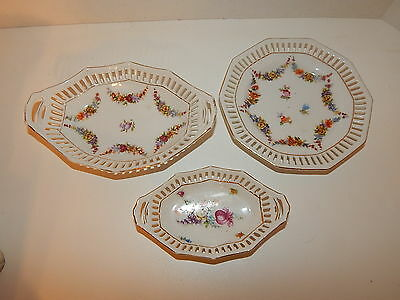 Schumann Bavaria Hand Painted Flowers Reticulated Lace Small Tray & Bowl Dishes