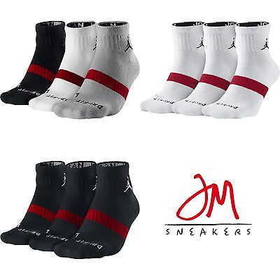 Nike Jordan Dri-Fit 3-Pack Low Quarter Socks White Black MutliColor Packs 546480