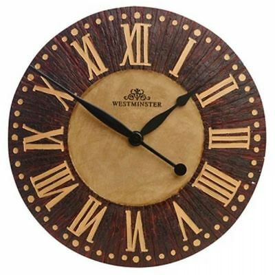 Gardman Westminster Wall Clock Wood Effect Roman Numeral Indoor Outdoor Garden