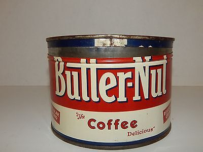 Vintage Butter Nut Coffee Tin 1 lb Empty With Lid Regular Grind