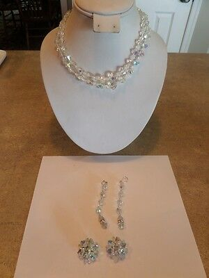 Vintage Double Strand Crystal Necklace and Two Pair Earrings