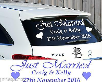 Just Married Personalised Wedding Car Window Sign Decal Sticker