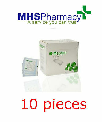 Mepore Adhesive First Aid dressing for cuts burns wounds 7cm x 8cm (x10)