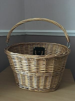 Detachable Bicycle Wicker Basket With Carry Handle Front Of Bike