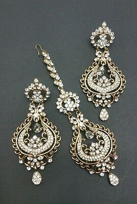 New Indian bollywood Elegant tikka and Earrings in gold costume jewellery