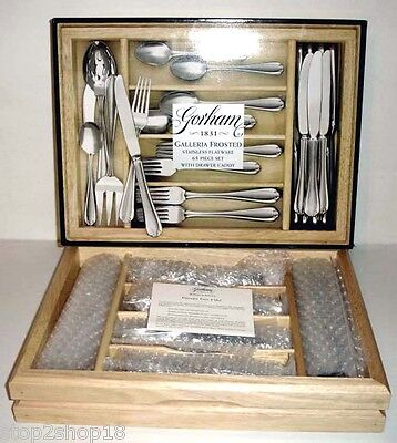 Gorham GALLERIA FROSTED 65 Piece Stainless Flatware Service/12 + Wood Caddy New