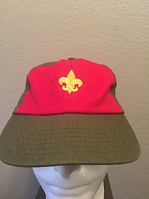 Official Webelos Cub Boy Scout BSA Red Olive Twill Hat Ball Cap SNAPBACK S/M