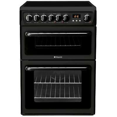 Hotpoint HAE60KS 60cm B Rated Electric Double Oven with Ceramic Hob in Black