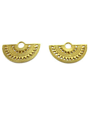ACROSS THE PUDDLE 24k Gold Plated Pre-Columbian Fan Nose Ring Earrings