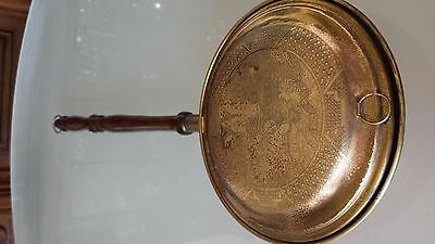 Antique Solid Copper & Brass Bed Foot Warmer Pan with Wooden Handle
