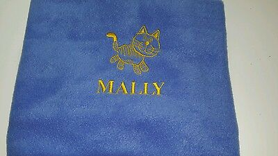 Personalised Embroidered Cat Blanket Cat Design and Name