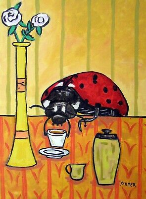 Ladybug at the cafe coffee shop signed art print 8x10